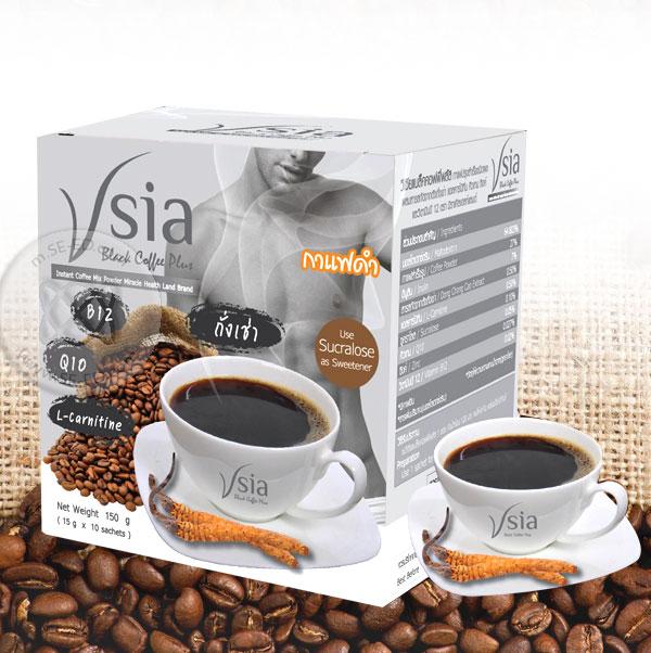 กาแฟ Vsia Black Coffee Plus สูตรกาแฟดำ (10 ซอง x 15 กรัม)